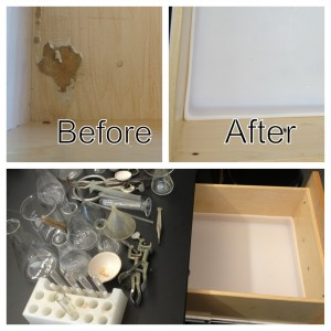 Labware can now be stored without causing further damage to the drawer.